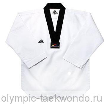 Добок для тхэквондо WTF Adi-Champion 2 белый с черным воротником